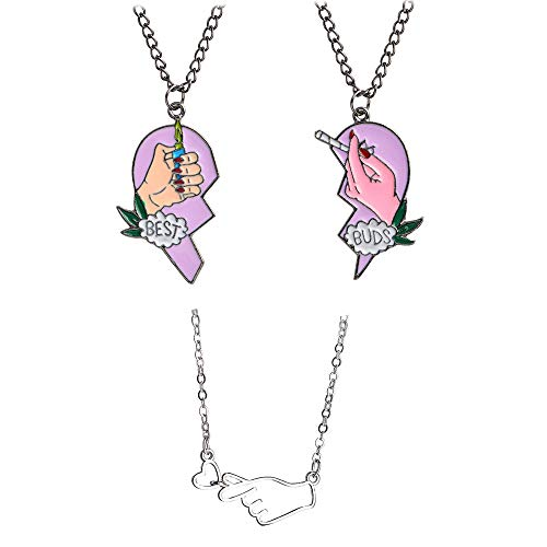 Mingjun 3 Pcs Heart Pendant Necklace Best Buds Print...