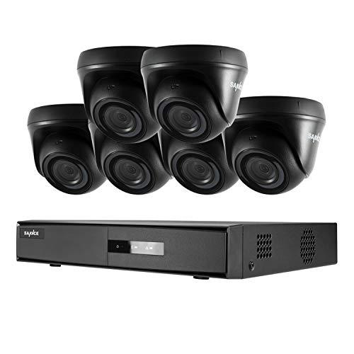 SANNCE Kits Sistema de Seguridad 8CH 1080N DVR 5-en-1 y 6 Cámaras de Vigilancia 1080P HD con Visión Nocturna Leds IP66 Acceso Remoto-sin HDD
