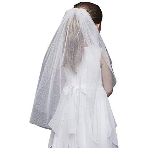 Glitter Tulle Communion Veil Style F19V033, Ivory