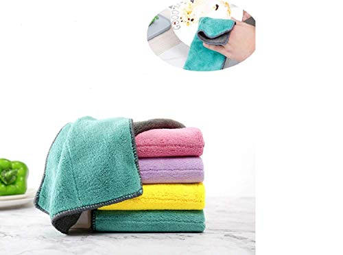 NUDAYEN SHOP Kitchen Dish Towels, 5 Pcs Double-Sided Rag, Dish Towel Non-Oil Rag, Absorbent Water Lint Thick Double-Sided Microfiber Cleaning Cloth, Kichen Tools