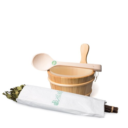 Sauna Starter Set Top 2 - Sauna Pail met Ladle en Sticks