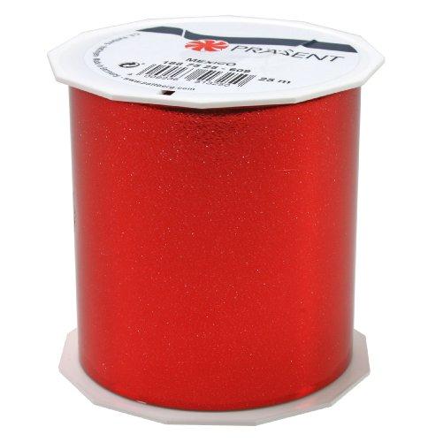 Präsent 75 mm 25 m MEXICO - metallic gestreepte band, rood
