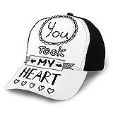 Gorra de béisbol lisa lavada, estilo tipográfico con letras You Took My Heart con figuras ornamentales dibujadas a mano, retro, ajustable, regalo para hombres y mujeres