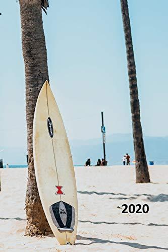 2020: Surfboard rack convenient Planner Calendar Organizer Daily Weekly Monthly Student Sunset Big Wave Surfing