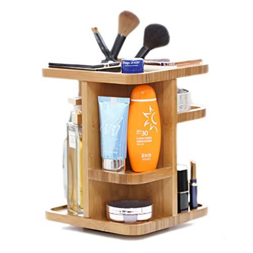 Liuhoulin Aufbewahrungsbox-Tischgestell-Hautpflege-Lagergestell aus Bambus, der kosmetische Aufbewahrungsbox-Frisierkommode dreht (Color : 20.5X20.2X30CM)