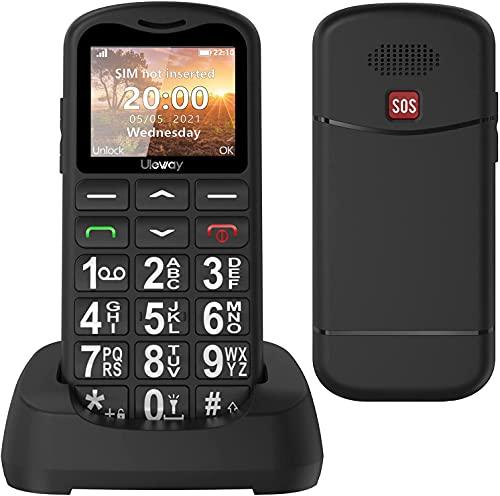 Uleway Teléfono móvil para personas mayores con teclas grandes, fácil de usar con botón SOS, soporte SIM doble, llamada rápida y linterna, batería de 800 mAh, batería larga en espera – Negro