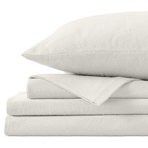 Great Bay Home Extra Soft 100% Turkish Cotton Flannel Sheet Set. Warm, Cozy, Heavyweight, Luxury Winter Deep Pocket Bed Sheets in Solid Colors. Nordic Collection (Full, Pristine Ivory)