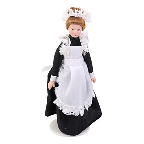 Harilla 1:12 Puppenhaus Porzellan Viktorianischen Puppe Diener Maid Tisch Ornamente Foto Requisiten