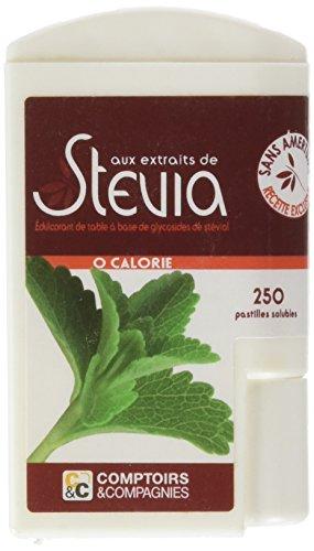 COMPTOIRS ET COMPAGNIES Distributeur 250 Pastilles Stevia Recette sans Amertume 50 g