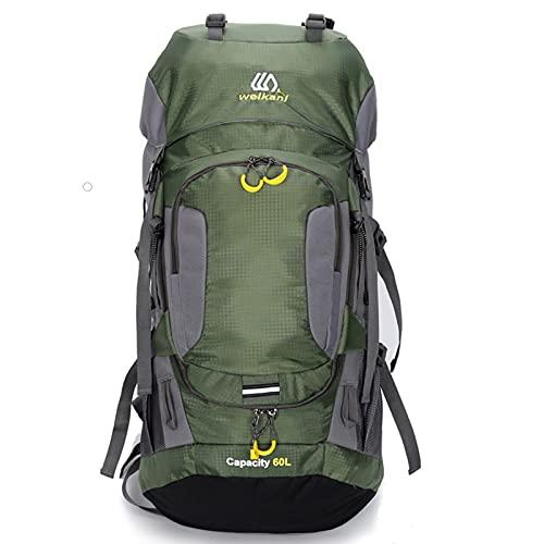60l Impermeable Mochila para Hombre Paquete De Viaje Bolsa De Deporte Paquete De Camping Al Aire Libre MontañIsmo Senderismo Escalada Mochila para Hombres,Verde