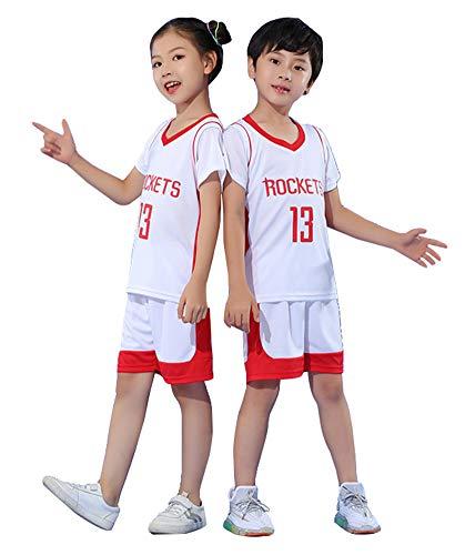 Bestickte Basketballtrikots für Kinder Harden Houston Rockets # 13, Top und Shorts 2-teiliges Set Jugend ärmellose Sportweste Sportswear Anzug Mädchen-White-M
