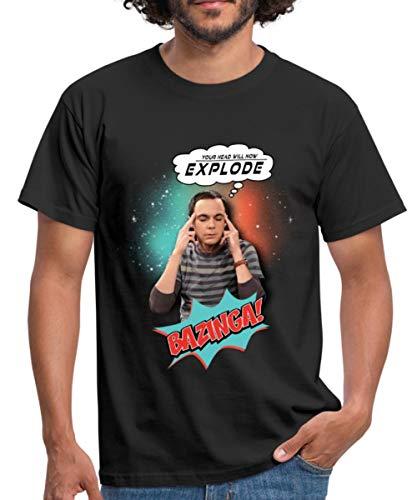 The Big Bang Theory Sheldon Head Will Explode Männer T-Shirt, XXL, Schwarz