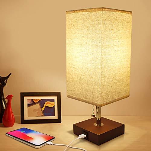 OurLeeme Lámpara de mesa de noche, lámpara de noche minimalista con pantalla de lámpara USB Lámpara de escritorio con puerto de carga rápida E27 (bombilla no incluida)