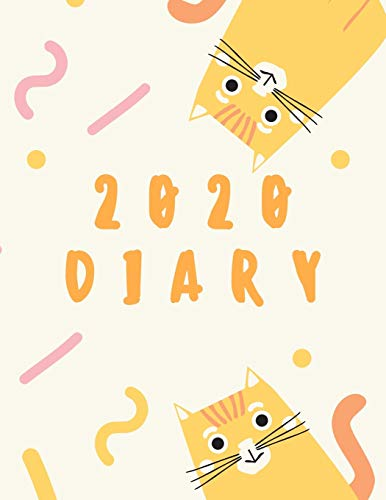 2020 Diary: Cat Lovers Planner, Week to View Organiser: Pocket Paperback Notebook Style With Priorities & To Do List Agenda, Yellow & Orange