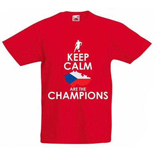N4496K La Camiseta de los niños Czechs Are The Champions (14-15 Years Rojo Multicolor)