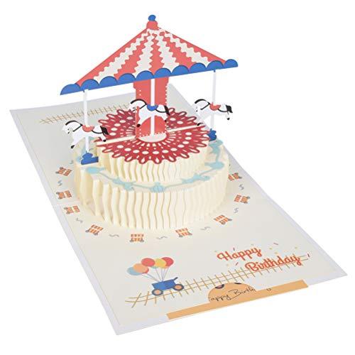 Tarjeta de Felicitación Emergente 3D,Tarjeta Cumpleaños Hecha a Mano Navidad Tarjeta Regalo Bodas Invitaciones con Sobre para Mujeres Hombres (Carrusel, Pastel)