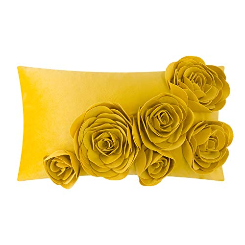 JWH 3D Rose Flower Throw Pillow Cover Decorative Accent Pillow Case Handmade Pillowcase Velvet Cushion Cover Home Bed Room Sofa Decor Gift 12 x 20 Inch Gold Yellow