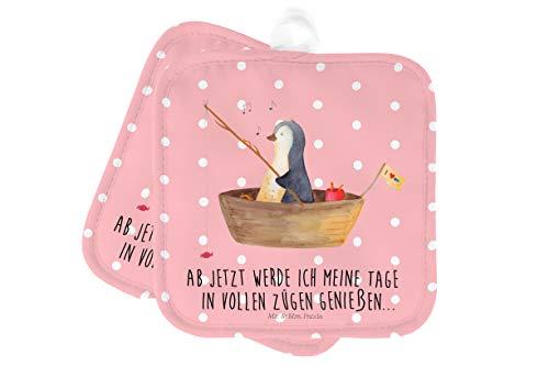 Mr. & Mrs. Panda Küche, Ofenhandschuh, 2er Set Topflappen Pinguin Angelboot mit Spruch - Farbe Rot Pastell