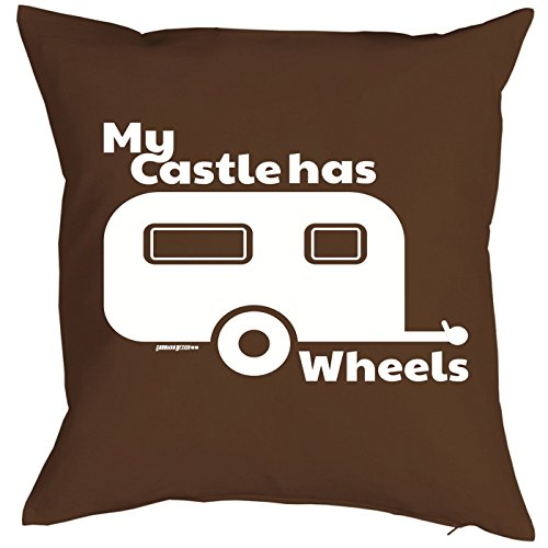 Camping Artikel Kissen mit Füllung My Castle has Wheels für den Wohnwagen Caravan für Camper Camping