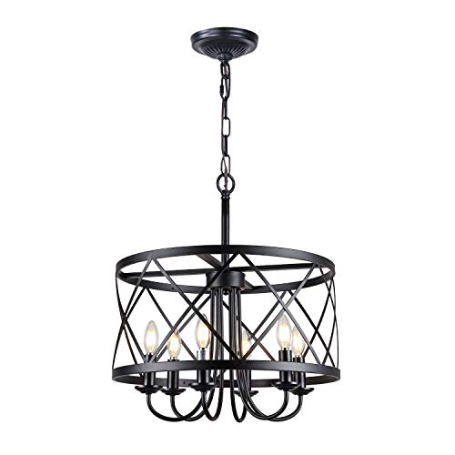 Rustic Chandelier, 6-Light Farmhouse Chandelier, Drum Lantern Modern Chandelier, Black Finish Chanderliers, Infront Lighting