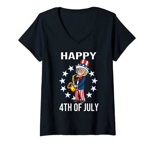 Mujer To Sam Feliz 4 de julio EE. UU. Saxofn Nios Nios Hombres Camiseta Cuello V