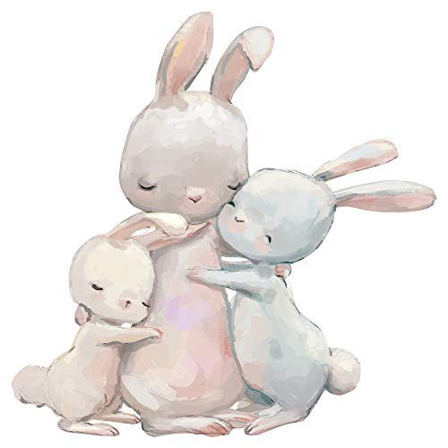 dekodino® Pegatina de pared cuarto bebé animales acuarela conejo brazo a brazo