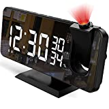 """Projection Alarm Clock for Bedroom, 7.4"""" Large Mirror LED Display Ceiling Digital Alarm Clock Radio with USB Charger Ports, Auto Dimmer Mode, Easy Snooze, Dual Loud Smart Clock for Heavy Sleepers"""