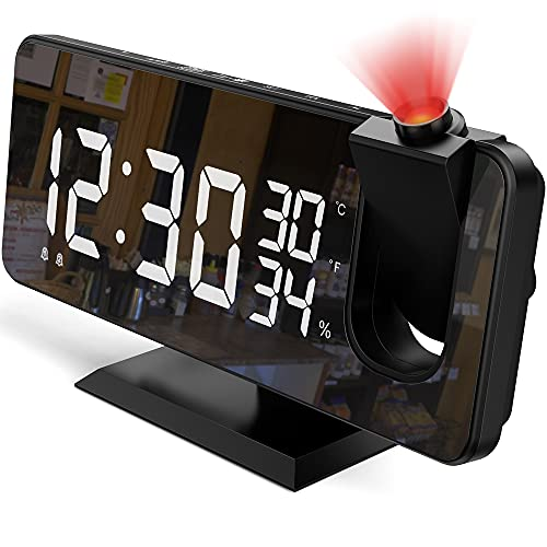 Projection Alarm Clock for Bedroom, 7.4  Large Mirror LED Display Ceiling Digital Alarm Clock Radio with USB Charger Ports, Auto Dimmer Mode, Easy Snooze, Dual Loud Smart Clock for Heavy Sleepers