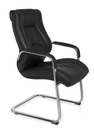 Amstyle Design Freischwinger Rimini Besucherstuhl Bezug Leder-Optik Schwingstuhl, Visitor X-XL Chrom 120 kg Meetingstuhl ergonomisch Design...