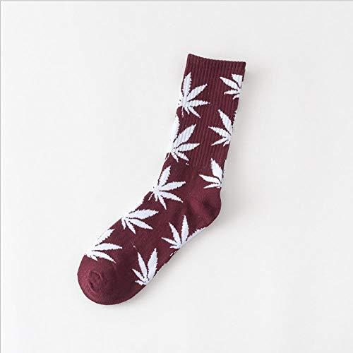 hhjjdf Baumwolle Paar Ahornblatt Socken Medium Rohr Socken Hip Hop Skateboard Socken Hanfblatt Sport Socken DREI Paare A1