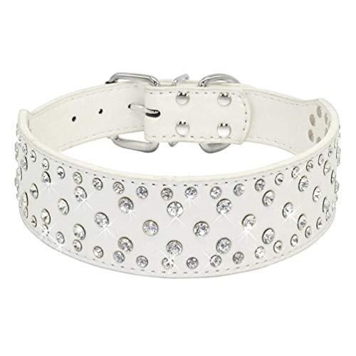 SOCHII Collar de piel sintética con diamantes de imitación, para perros medianos y grandes