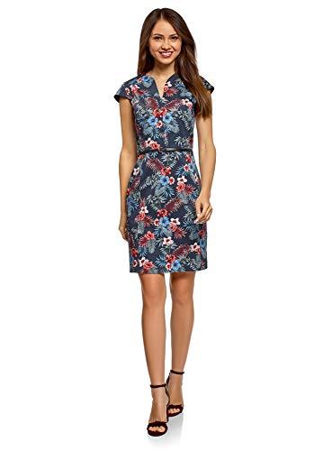 oodji Collection Damen Etui-Kleid mit Gürtel, Blau, DE 34 / EU 36 / XS