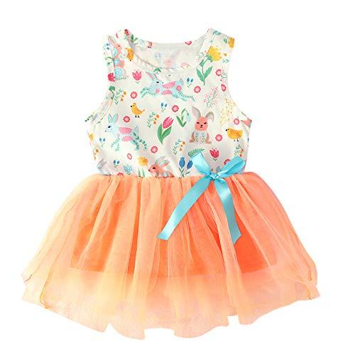 Vestido de niña de conejo sin mangas con falda tutú, vestido de princesa de Pascua