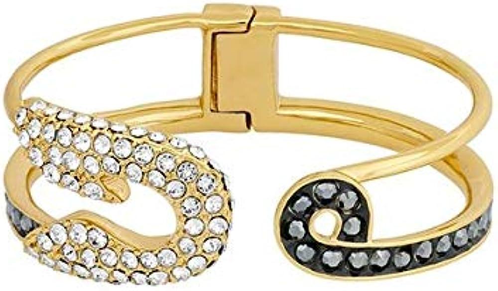 Karl lagerfeld outlet,bracciale per donna,in acciaio inossidab placcato oro con cristalli brillanti ed ematite 5420604