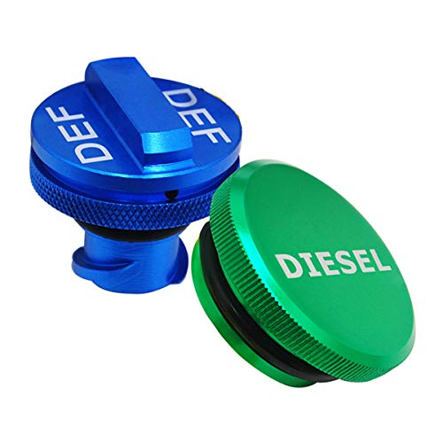 illet Aluminum Fuel Cap Combo Pack,Diesel Fuel Cap for Dodge - Magnetic Green Diesel Fuel Cap and Non-magnetic Blue DEF Cap for 2013-2018 Dodge Ram Diesel Trucks 1500 2500 3500