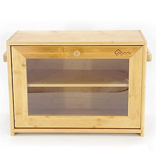 OGODU.Click image to open expanded view window Bamboo Bread Box,Single Floor, Double Doors,Perfect Material,Clear Front, virtually Unbreak,assemble
