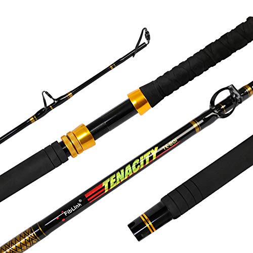 Fiblink Fishing Trolling Rod 1 Piece Saltwater Offshore Rod Big Name Heavy Duty Rod Conventional Boat Fishing Pole (6',80-120lbs)