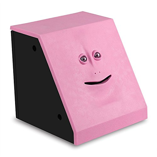 HSTYAIG Face Coin Bank Money Eating Coin Bank Battery Powered Monkey Saving Box (Pink)
