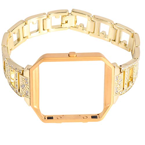 NICERIO Compatible for Fitbit Blaze Bands Alloy Watch Bands with Frame Rhinestone Watch Replacement Strap for Men Women