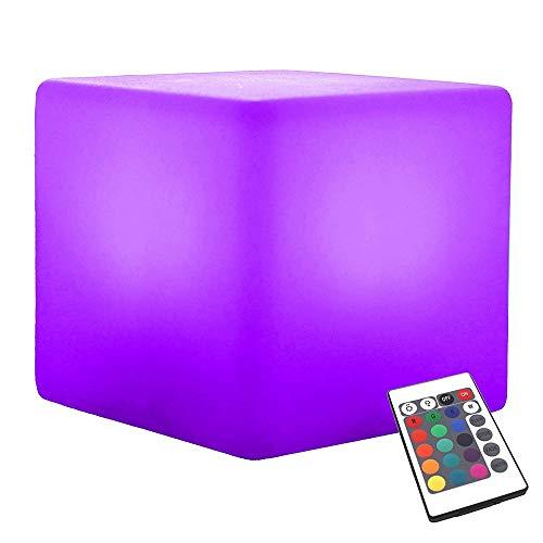 Paddia Allumez LED Humeur Lumière Télécommande USB Chargeable Alimenté 16RGB Couleur 4 Luminosité Humeur Lampe Étanche Intérieur/Extérieur LED Cube Tabouret Accueil Décoratif Night Light Bar Pool Pa