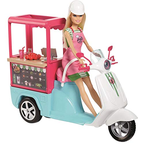 Barbie- Scooter Street Food con Accessori Realistici, FHR08