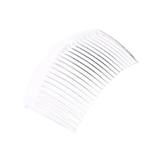 5pcs / ensemble peigne à la main 23 dents en plastique coiffures cheveux accessoires femmes clip de bricolage (transparent)