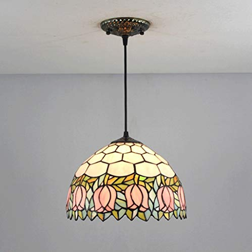 Lámpara colgante Lámpara de techo Candelabro Tulip Art Cabeza única Cristal 30 CM Sala de estar Dormitorio Cocina Comedor