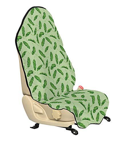 ABAKUHAUS Bananenblad Beschermhoes voor autostoelen, ecologie Planten, met Antislip Achterkant, Universele Maat, 75 x 145 cm, Green Pistache groen