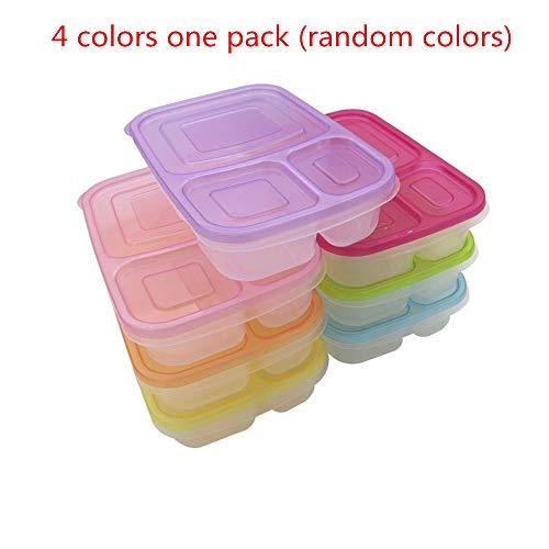 Ecloud Shop Contenedores de contenedores de 3 compartimientos Bento, contenedores de contenedores de alimentos multicolores con tapas (conjunto de 4)