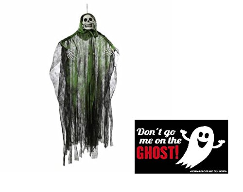 NV Halloween Figur Sensenmann - grün - animiert & Postkarte Don't go me on The Ghost! - Set * ~