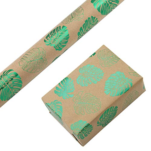 RUSPEPA Kraft Wrapping Paper Roll - Foil Green Monstera Design Wrapping Paper for Wedding, Birthday, Summer 1 Roll - 30 inches X 16 feet