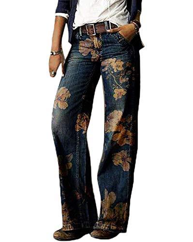 Pantalones de Mezclilla de Cintura Alta a la Moda para Mujer Pantalones Vaqueros de Pierna Ancha Pantalones Sueltos Sueltos Estilo Callejero Impresos