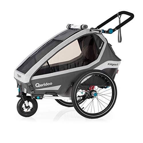 Qeridoo Kidgoo 1 (2020) Kinderfahrradanhänger, Fahrradanhänger 1 Kind - Grau