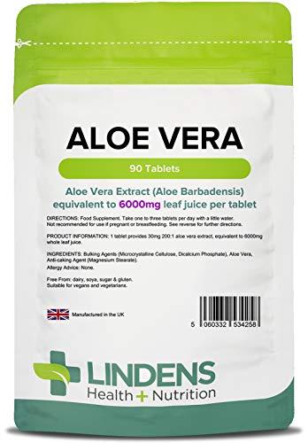 Lindens Aloe Vera 6000 mg en comprimidos | 90 Paquete | Extracto de concentrado, equivalente a 6000 mg de jugo de hoja de aloe vera